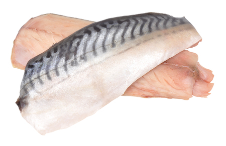 Two raw mackerel fish fillets isolated on a white background