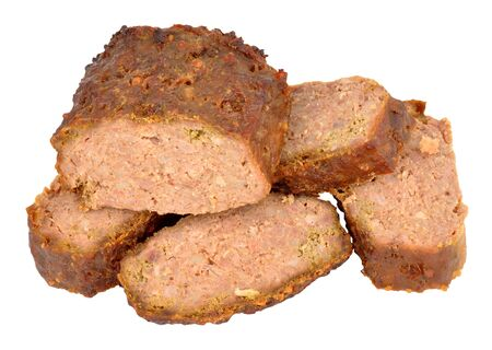 meatloaf: Sliced cooked meatloaf isolated on a white background