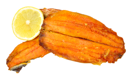 kipper: Traditional grilled smoked kipper fillets isolated on a white background Stock Photo