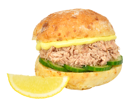 tuna mayo: Fresh tuna fish and cucumber sandwich roll with mayonnaise isolated on a white background