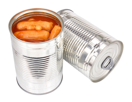 tinned: Tinned sausages and baked beans in tomato sauce isolated on a white background Stock Photo