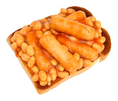 beans on toast: Sausages and baked beans in tomato sauce on toast isolated on a white background