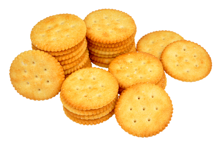 savoury: Group of savoury cheese biscuits isolated on a white background