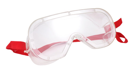 safety goggles: Plastic industrial safety goggles with red elastic strap isolated on a white background Stock Photo