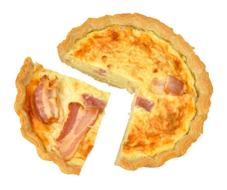 savoury: Bacon and cheese savoury tart isolated on a white background