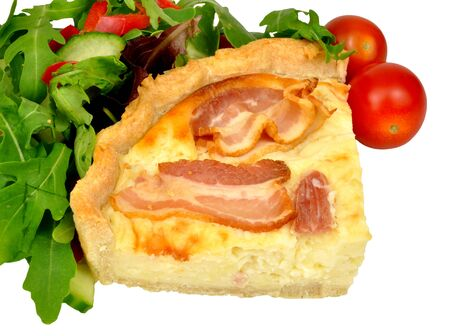 savoury: Portion of bacon and cheese savoury tart with salad isolated on a white background