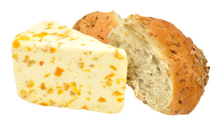 stilton: Apricot flavoured English white stilton cheese and crusty bread isolated on a white background