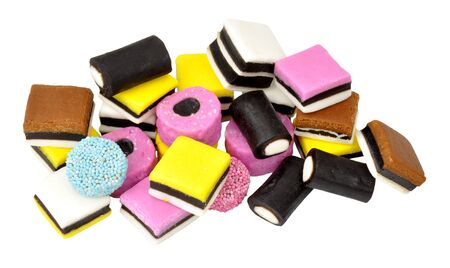 liquorice: Group of traditional English liquorice sweets isolated on a white background