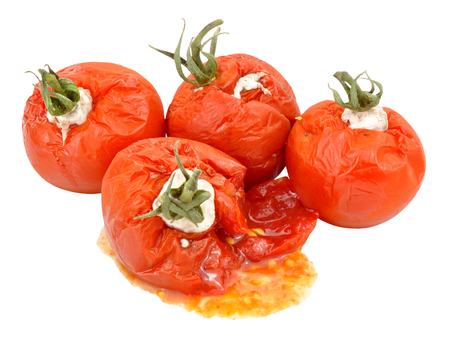 discard: Group of rotten mouldy tomatoes isolated on a white, background