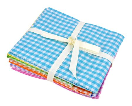 gingham: Pack of traditional Gingham fabric samples isolated on a white background