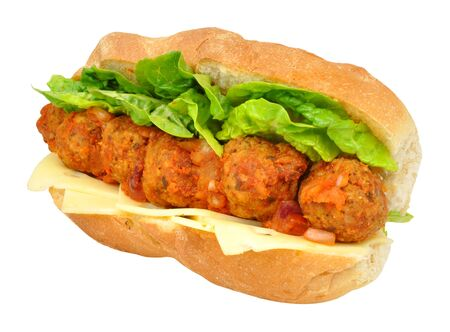 hoagie: Meatball and cheese sandwich sub roll isolated on a white background