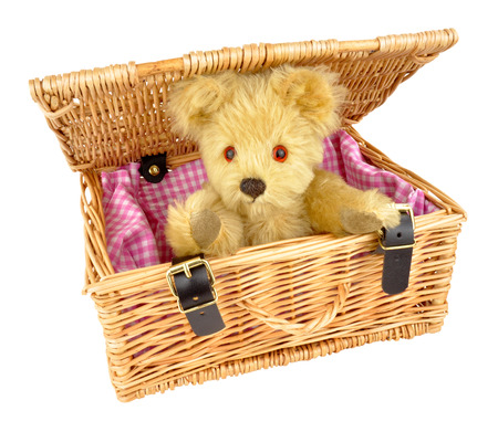 soft toy: Traditional teddy bear soft toy in a wicker basket isolated on a white background