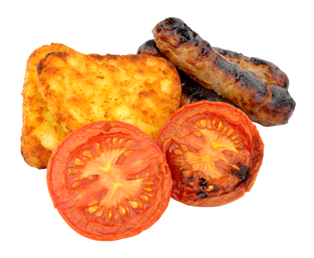 browns: Grilled sausages and tomatoes with hash browns isolated on a white background