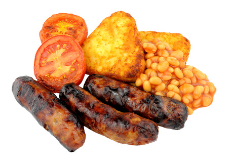 browns: Grilled sausages and tomatoes with hash browns and baked beans isolated on a white background