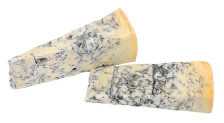 veined: Two wedges of blue veined Gorgonzola Piccante cheese isolated on a white background