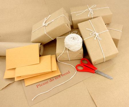 Group of postal packaging including parcels and envelopes