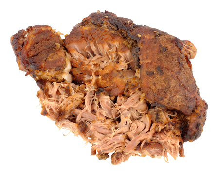 pulled: Slow cooked pulled pork meat isolated on a white background