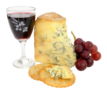 stilton: Glass of red wine and blue stilton cheese with grapes isolated on a white background