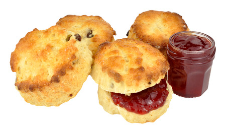 scones: Fresh strawberry jam filled scones isolated on a white background