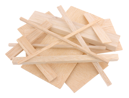 crafting: Group of cut model making and crafting balsa wood samples isolated on a white background Stock Photo