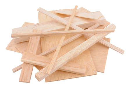 balsa: Group of cut model making and crafting balsa wood samples isolated on a white background Stock Photo