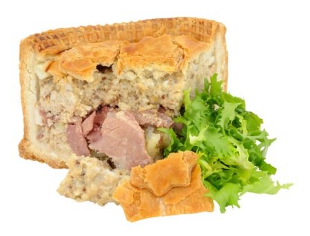 crusty: Crusty salt beef filled New York deli pie with lettuce leaves isolated on a white background Stock Photo