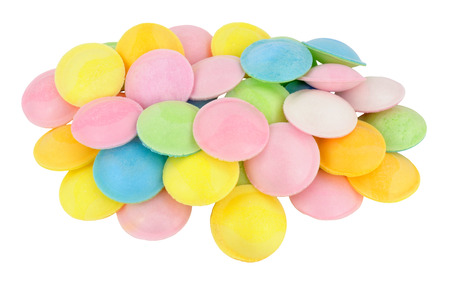 sherbet: Sherbet filled rice paper flying saucer novelty sweets isolated on a white background