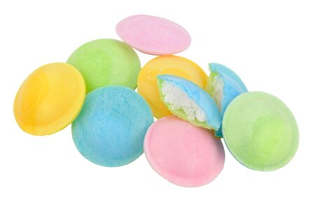 Sherbet filled rice paper flying saucer novelty sweets isolated on a white background