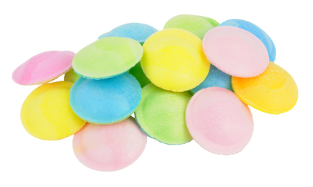 the novelty: Sherbet filled rice paper flying saucer novelty sweets isolated on a white background