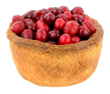 cranberry fruit: Whole cranberry fruit topped crusty pork pie isolated on a white background Stock Photo