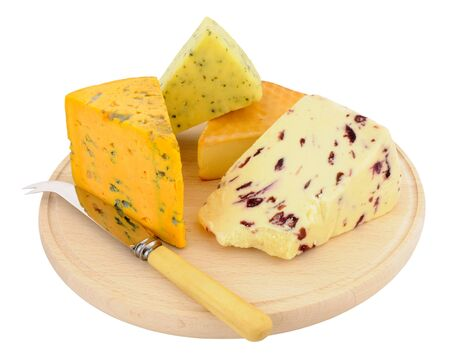 wensleydale: Round wooden cheese board with a selection of cheeses and cheese knife isolated on a white background