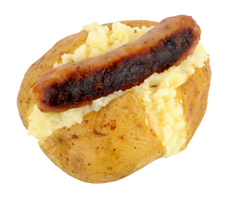 jacket potato: Oven baked jacket potato with a grilled pork sausage isolated on a white background