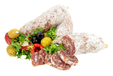 cured: Traditional Italian dry cured salami sausages with olives and peppers isolated on a white background