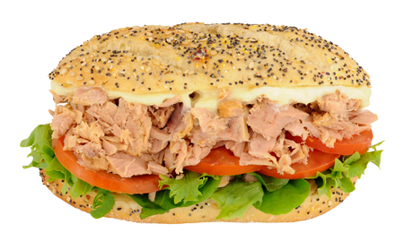 tuna mayo: Tuna and salad sandwich in a seeded bread roll isolated on a white background