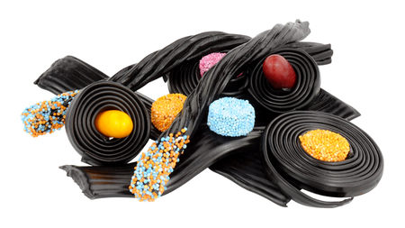 novelty: Assortment of traditional novelty liquorice candy isolated on a white background
