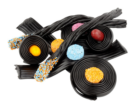liquorice: Assortment of traditional novelty liquorice candy isolated on a white background