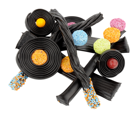 the novelty: Assortment of traditional novelty liquorice candy isolated on a white background