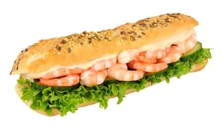 filled roll: Sub roll sandwich filled with prawns and salad isolated on a white background
