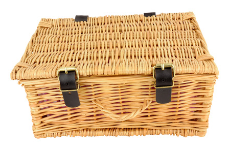 buckles: Woven wicker basket with straps and buckles isolated on a white background Stock Photo