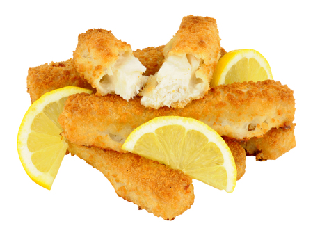chunky: Cooked chunky bread crumb covered cod fish fingers with lemon isolated on a white background