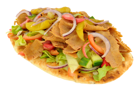 naan: Shawarma doner kebab meat with salad on a naan bread isolated on a white background