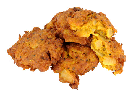onion bhaji: Group of spicy fried onion bhajis isolated on a white background Stock Photo