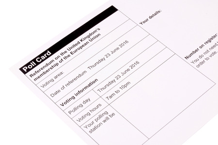 decide: United Kingdom European Union referendum polling card to decide if the UK will stay or leave the EU
