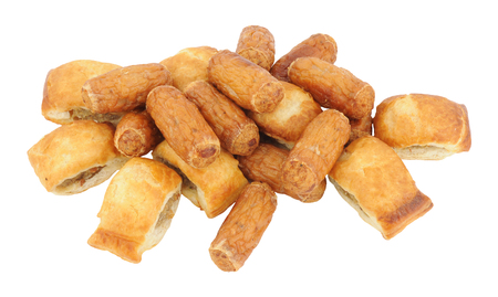 nibbles: Group of cocktail sausages and sausage rolls isolated on a white background