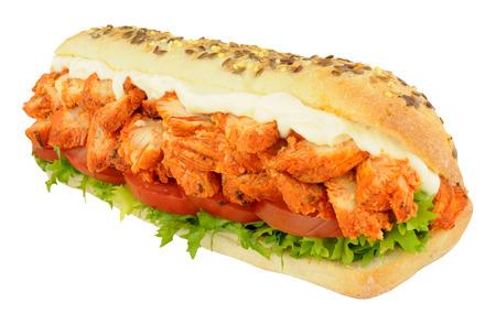 tandoori chicken: Chicken tandoori and salad sandwich sub roll isolated on a white background