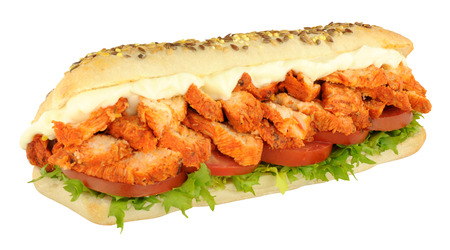 Chicken tandoori and salad sandwich sub roll isolated on a white background