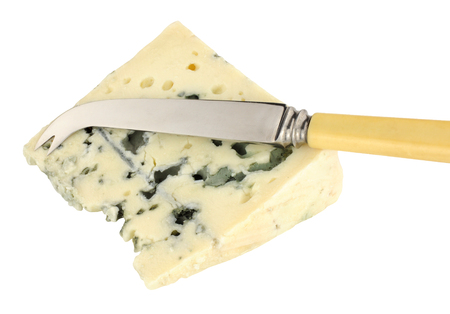 roquefort: Traditional French Roquefort cheese wedge isolated on a white background