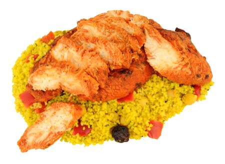 tandoori chicken: Tandoori chicken pieces with couscous isolated on a white background Stock Photo