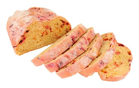 Fresh beetroot bloomer bread loaf isolated on a white background