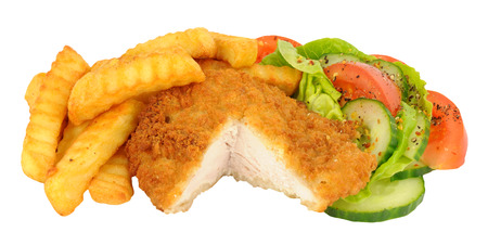 Breaded chicken and chips with salad meal isolated on a white background Stock Photo